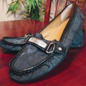"Coach Black Monogram ""Felisha"" Loafers"